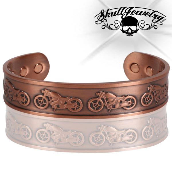 'Vintage Biker' Solid Copper Cuff Bracelet w/Magnets