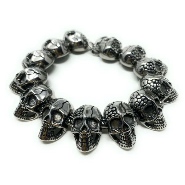 'Wherever I May Roam' Big, Bold & Thick Skulls Bracelet (c015)