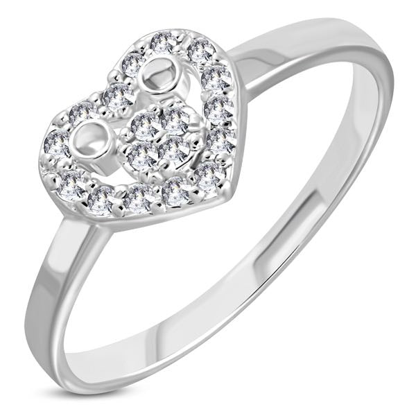 'Whole Lotta Love' Heart CZ Stone Mid-Finger Ring