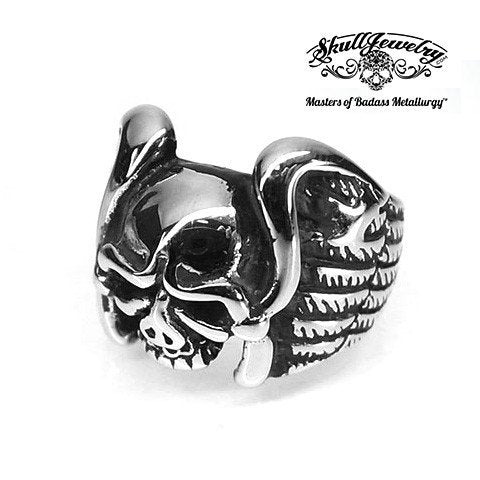 Vintage Flying Wings Skull Ring