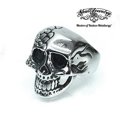 Fade Away Two-Face Skull Ring With Scales