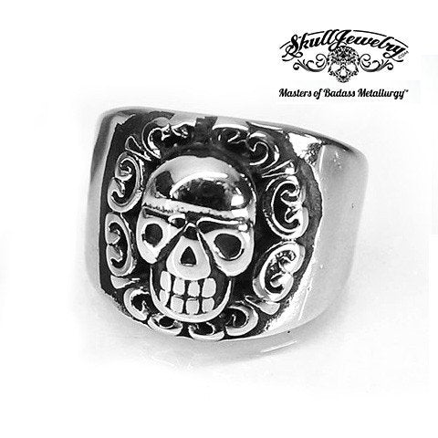 Smooth Tribal King Skull Ring