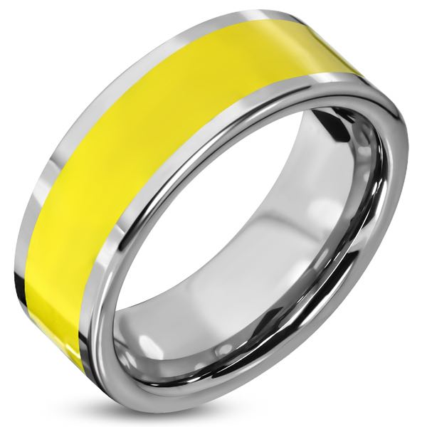 Yellow Stripe Band Stainless Steel Ring