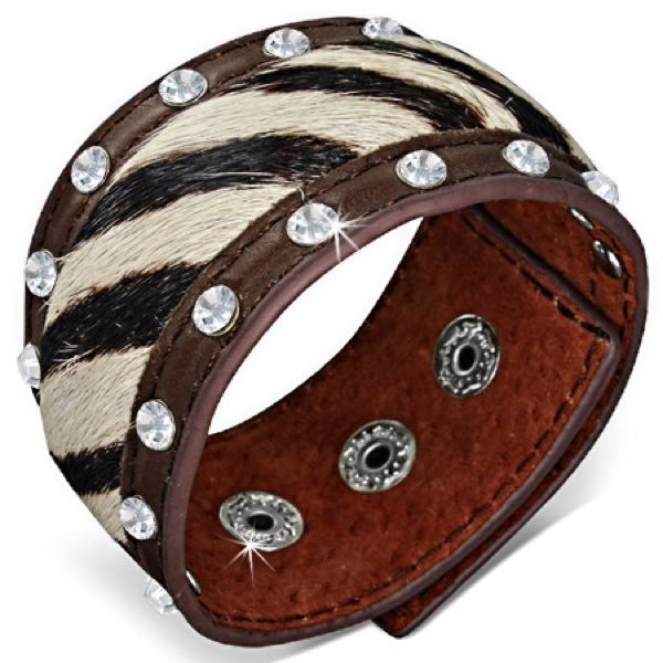 Zebra Faux Fur Rhinestone Leather Bracelet