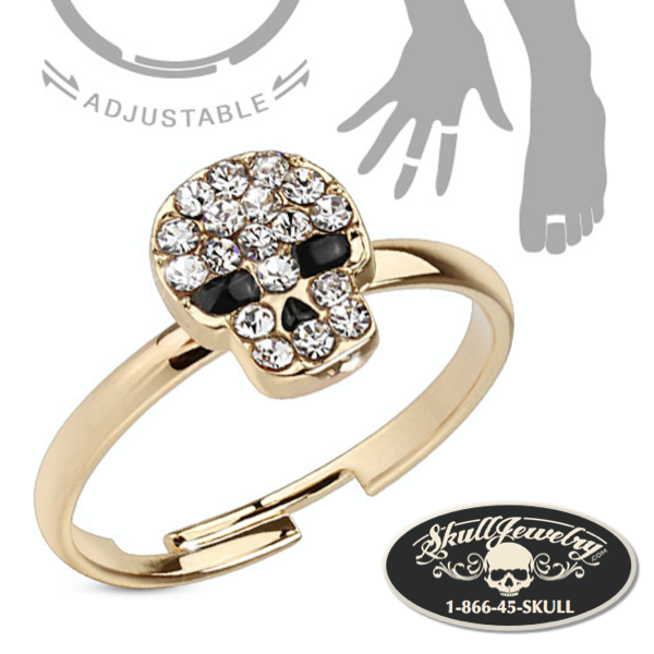 'Skull-errific' Adjustable Brass Mid-Ring/Toe Ring