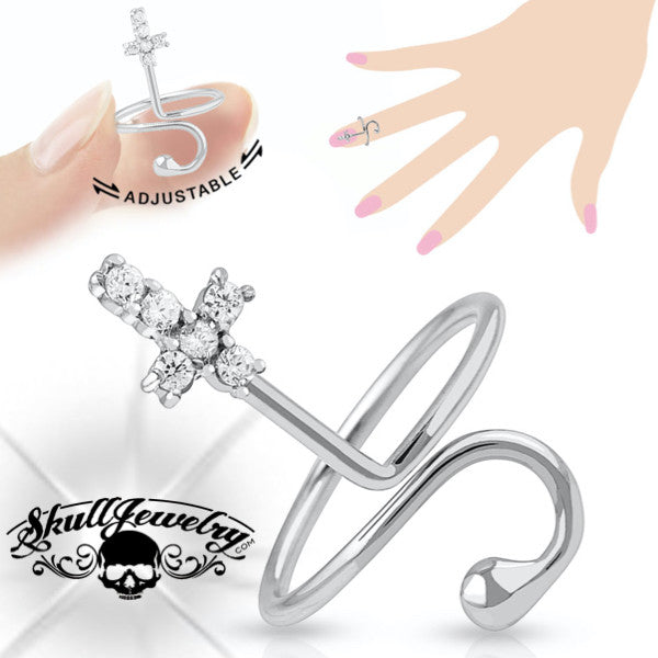 'Cross' Adjustable Mid/Tow or Finger Ring