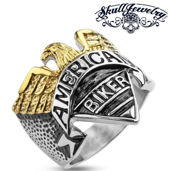 American Biker - Gold / Silver Tone Biker Ring With Gold Eagle