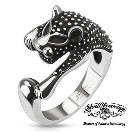 Ancient Feline (cat) Ring With Antiqued Studs (606)