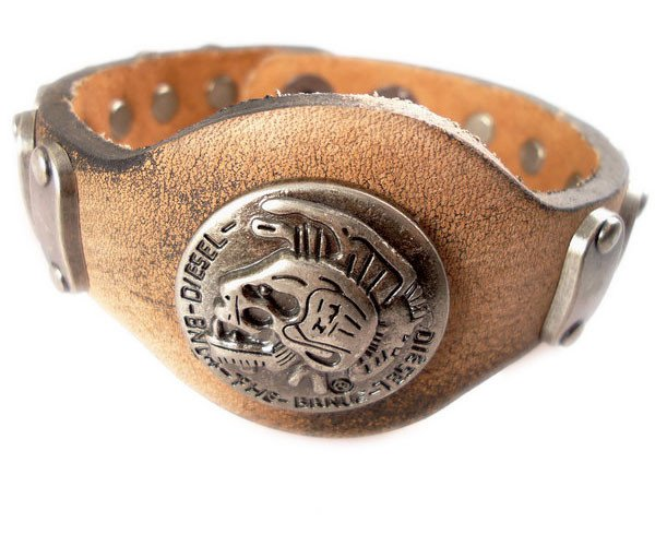 'Slither' Braided Vintage Genuine Leather Bracelet With Skull and metal tabs (ba007)