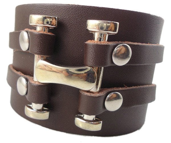 """Cult Of Personality"" High Quality Punk H Ribet Vintage Genuine Leather Bracelet (ba010)"