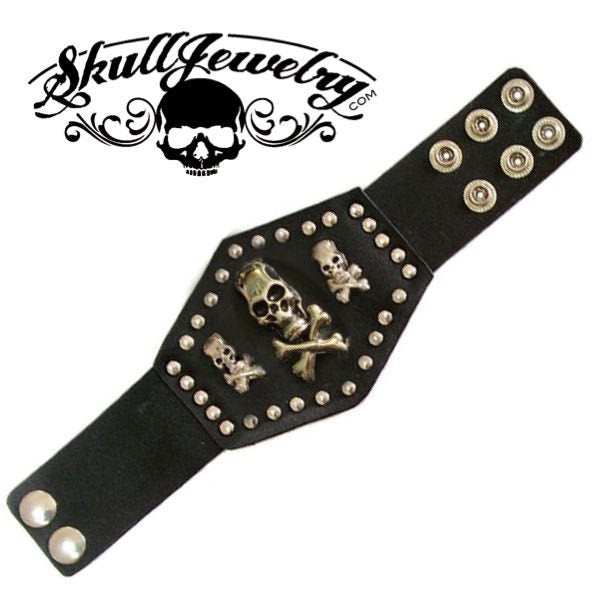 'Gimme Three Steps' Leather Bracelet w/Skulls and Studded