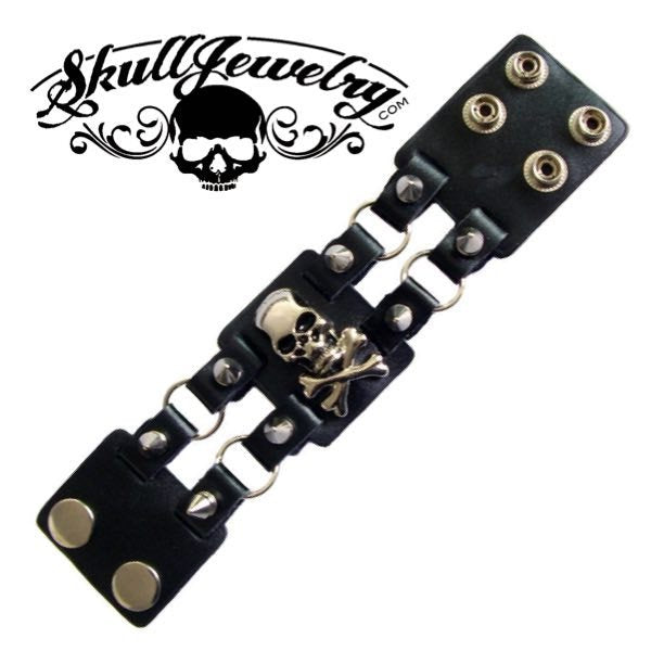 'Eight Miles High' Leather Bracelet with; Skulls, Spikes & Crossbones