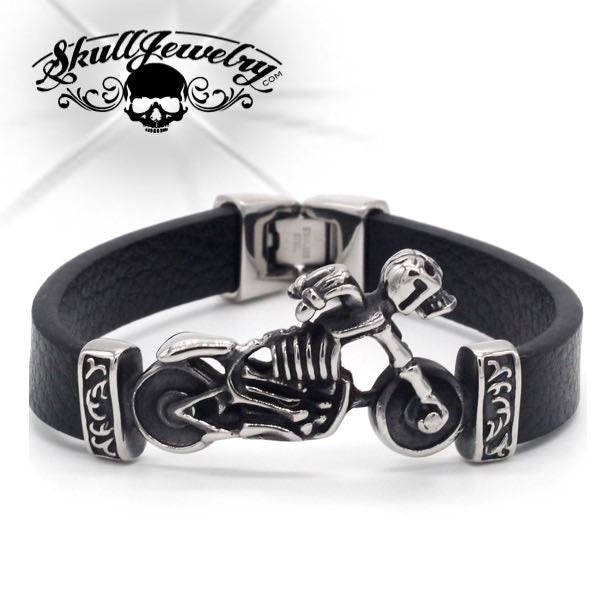 'Hell On Wheels' Skeleton on Motorcycle Bracelet