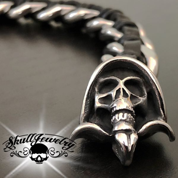 'Grim Reaper' Leather & Steel Bracelet