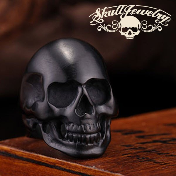 back in black - matte black skull ring