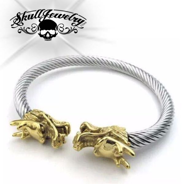Double Headed Dragon Steel Bangle Bracelet