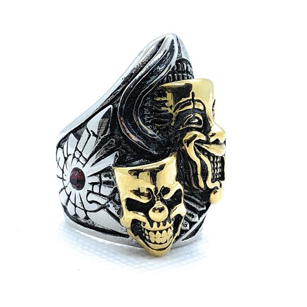 big bold and heavy smiling skull face ring