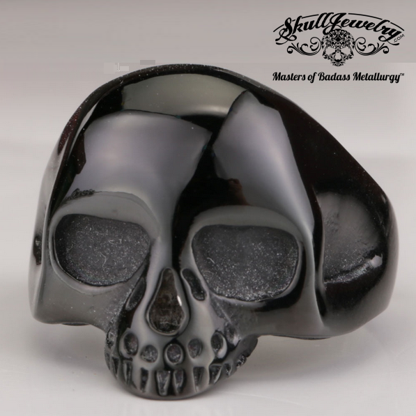 Black Old School Skull Ring Like the World Famous Keith Richards Ring But In Black