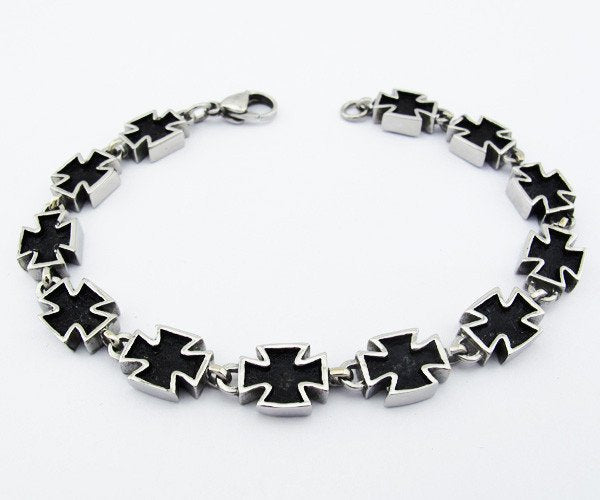 Black and Stainless Steel Celtic Cross Bracelet