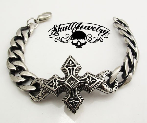 Black & Silver Toned Cross Bracelet - Very Detailed