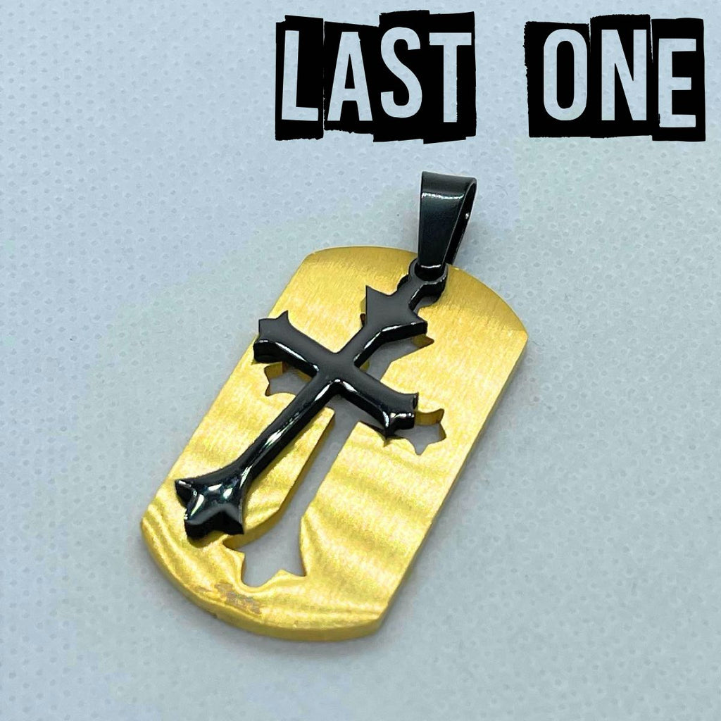 brushed gold cross pendant