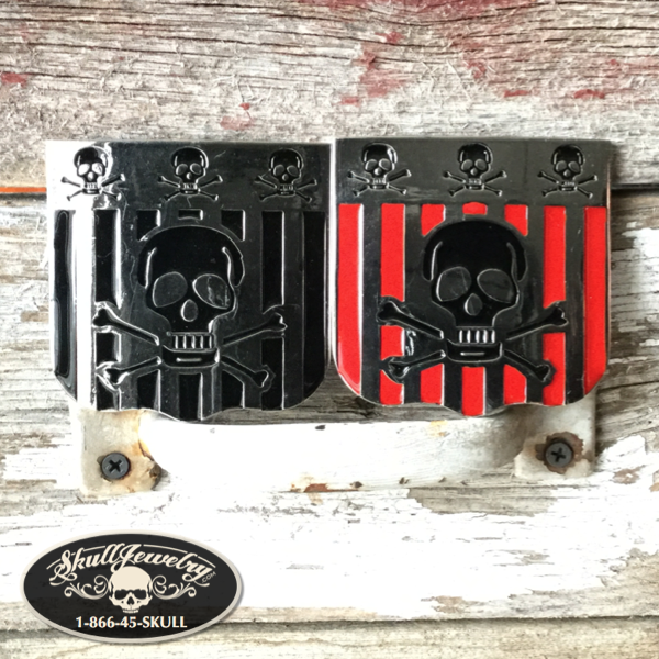 Skull & Bones Belt Buckle - Red or Black