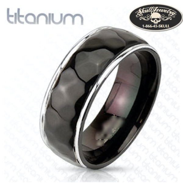 Hammered Center Black Band Ring Solid Titanium