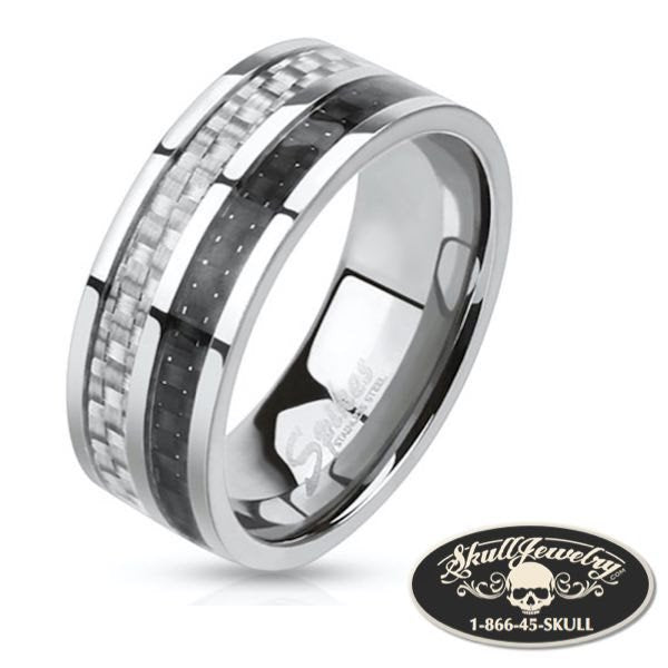 Carbon Fiber Inlay Two Toned Band Ring Stainless Steel
