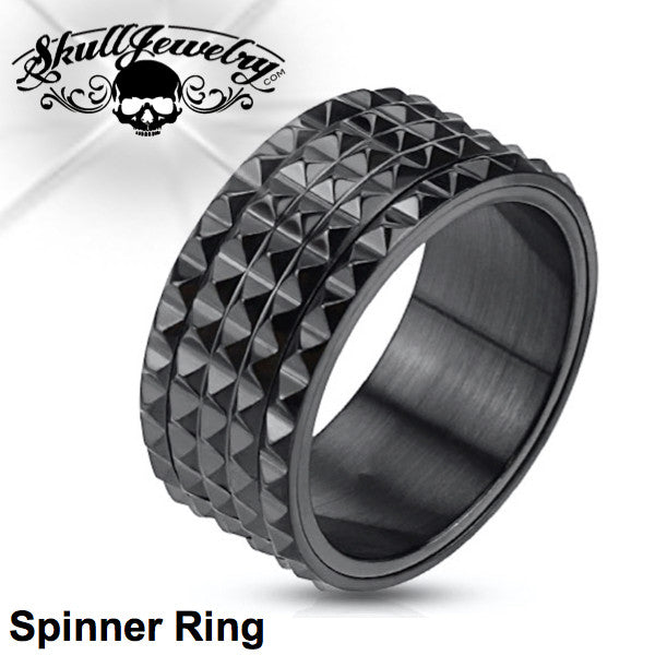 Black Spike SPINNER Ring