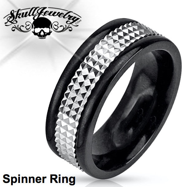 Black/Chrome Spike SPINNER Ring