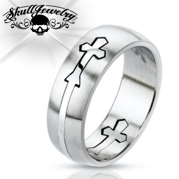 Domed Cross Ring