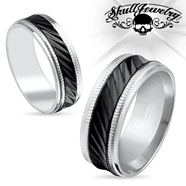 Milled Edge Black Center Stainless Steel Ring