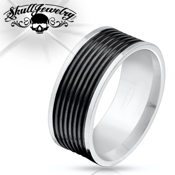Black Grooved Stainless Steel Ring