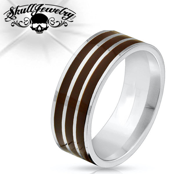 Triple Brown Lines Stainless Steel Ring