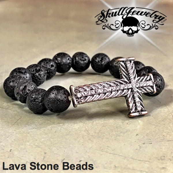Lava Stone Beads Bracelet w/Crystal Cross