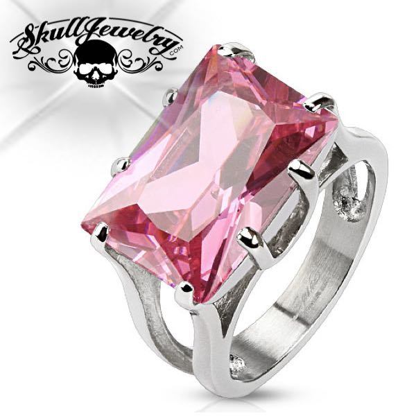 'Principessa Rettangolare Rosa'  Pink Princess Cut Gem Ring Stainless Steel