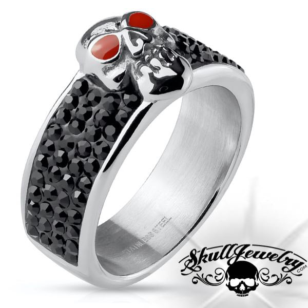 Californication' Red Eyes Skull Ring w/Black Stones