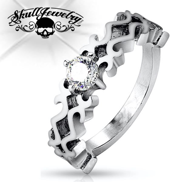 Long Long Way From Home Steel Ring w/Cubic Zirconia