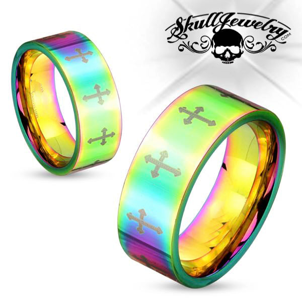 Psychedelic Cross Stainless Steel Ring