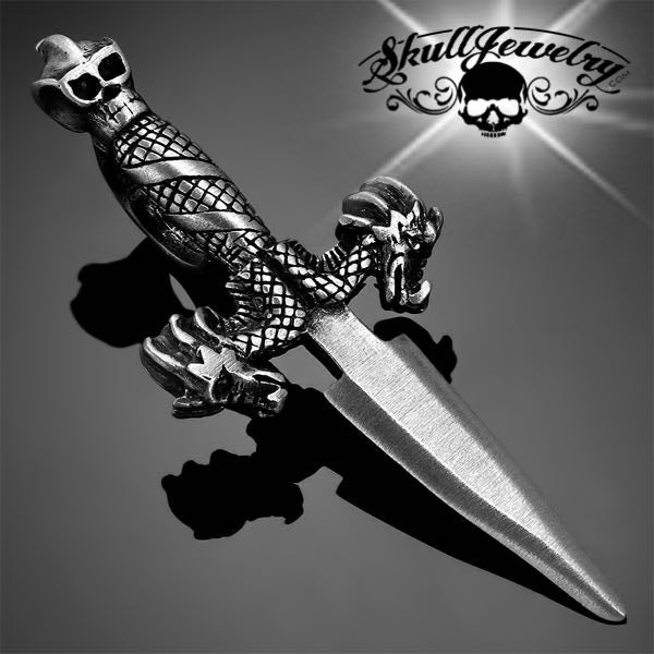 Pewter Double Dragon Dagger Pendant