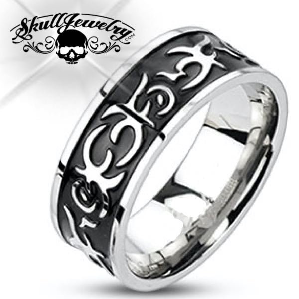 'Tribal Tattoo' Stainless Steel Ring