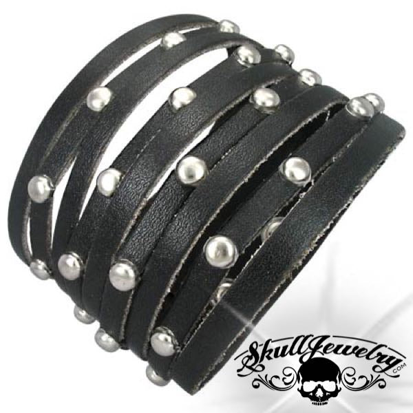 Genuine Black Leather Stud Snap Bracelet