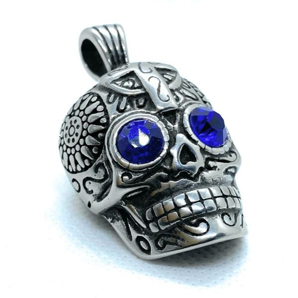 dia azul de los muertos - blue eyes day of the dead pendant
