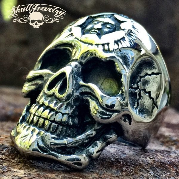 'Don't You Forget About Me' Stainless Steel Skull Ring with Inner Face