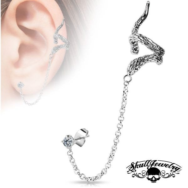 'Forevermore' Snake Ear Cuff w/ Chain Linked Clear Cubic Zirconia set Stud Ear Rings
