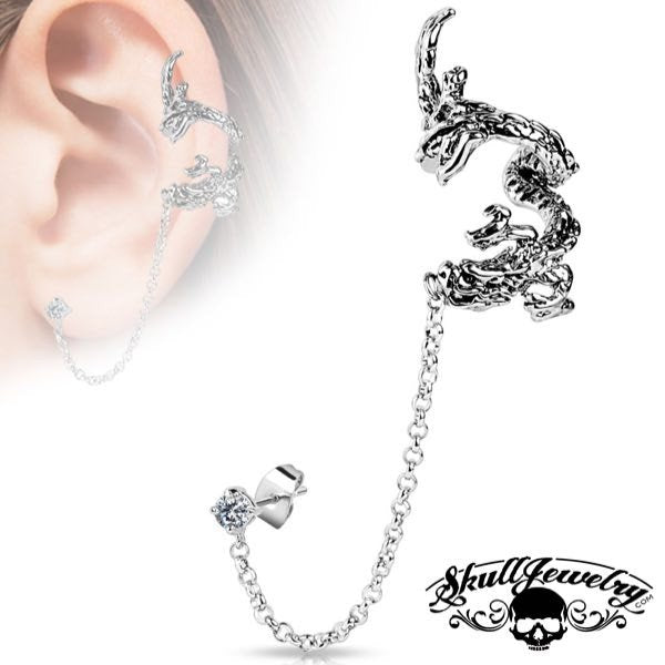 'Selene' Flying Dragon Ear Cuff w/ Chain Linked Clear Cubic Zirconia Stud Ear Rings