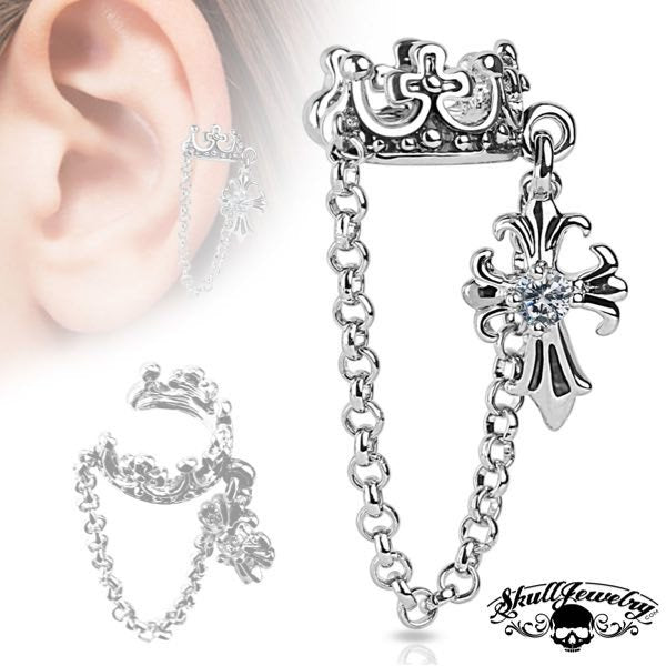 'Earth Angel' Crown w/ Chain and Clear Cubic Zirconia Set Cross Dangle Non-Piercing Ear Cuff