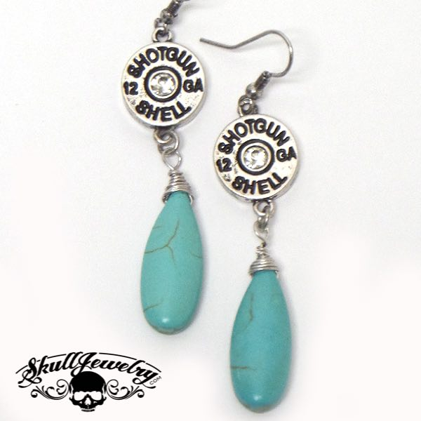 Turquoise Stone Drop Earring w/Crystal Center Bullet (e009)