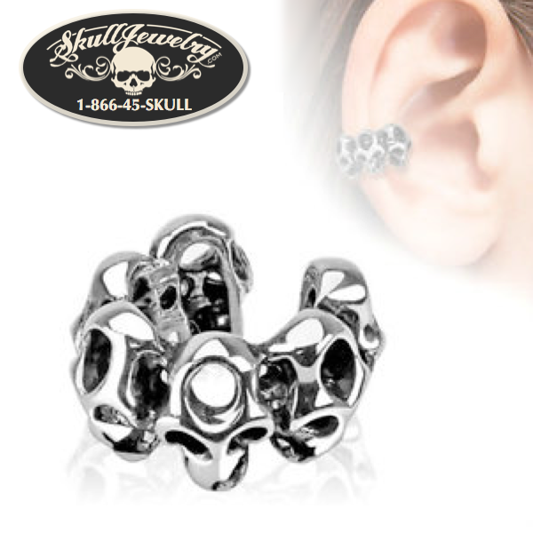 6 Skull Head Non-Piercing Ear Cuff