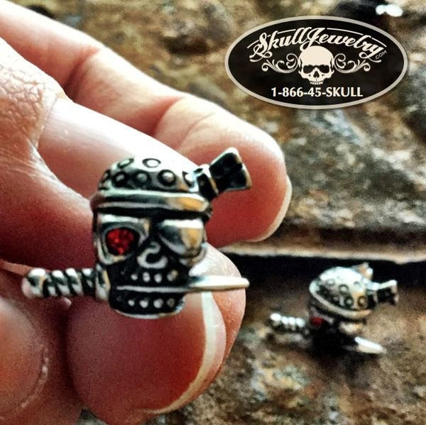 Pirate Skull Earrings w/ Red Eye